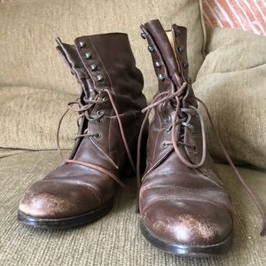 Vintage brown leather granny style boots 8.5